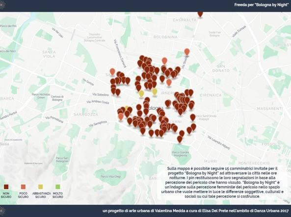 Una mappa creata per l'evento «Bologna by night» in cui si chiedeva di segnalare le zone ritenute più a rischio. Ora il progetto Freeda entra nel vivo, con nuove mappature di strade e servizi